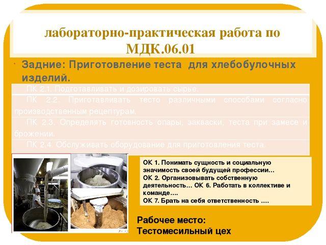 лабораторно-практическая работа по МДК.06.01 Задние: Приготовление теста для...