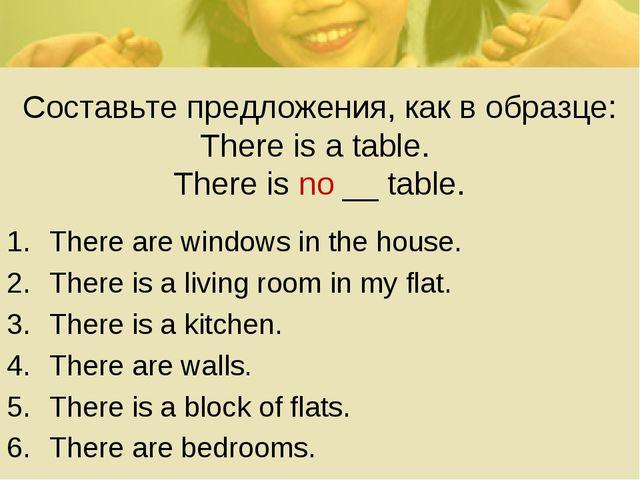 Составьте предложения, как в образце: There is a table. There is no __ table....