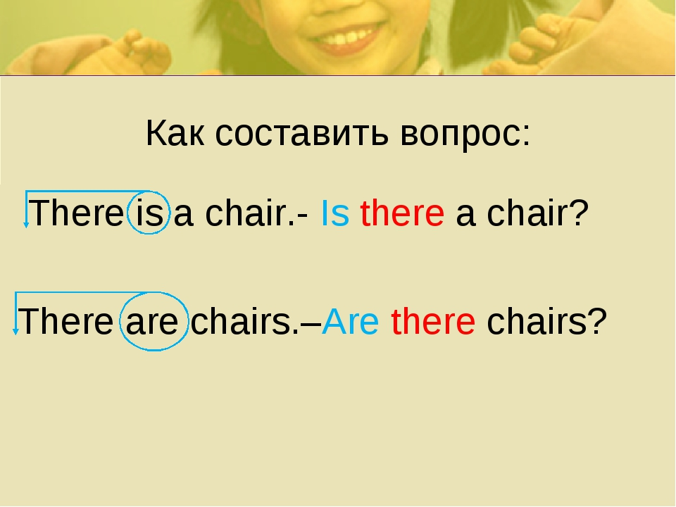 Как составить вопрос: There is a chair.- Is there a chair? There are chairs.–...