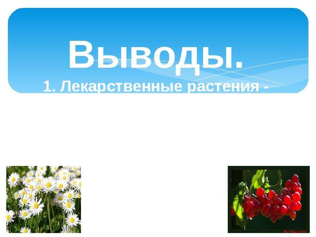 Выводы. 1. Лекарственные растения - настоящие преданные друзья человека. Они...