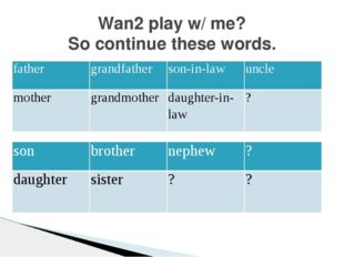 Wan2 play w/ me? So continue these words. father grandfather son-in-law uncle