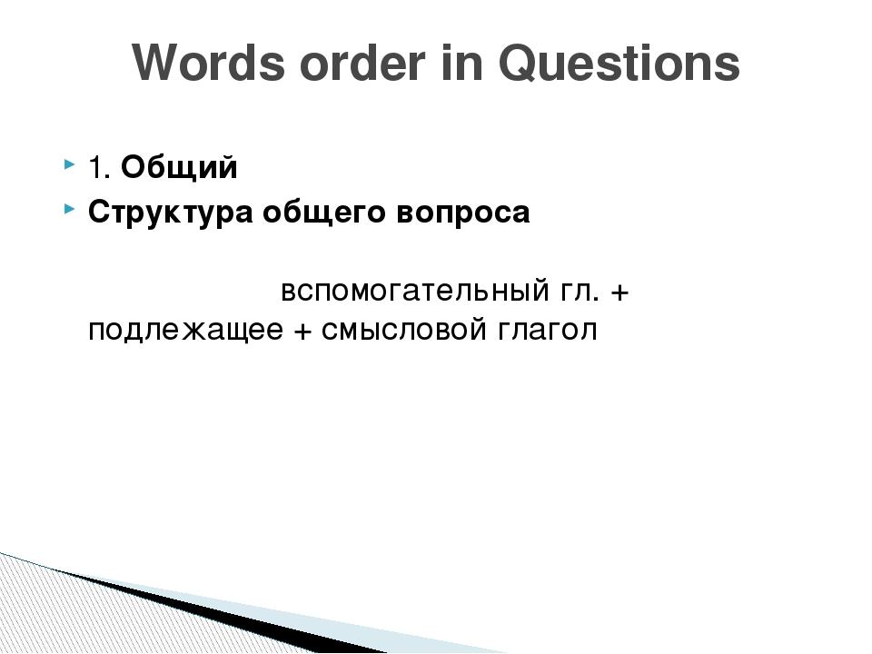 1. Общий Структура общего вопроса вспомогательный гл. + подлежащее + смыслово...