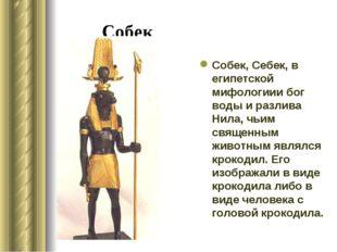 Собек Собек, Себек, в египетской мифологиии бог воды и разлива Нила, чьим свя