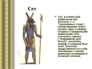 """Сет Сет, в египетской мифологии бог пустыни, т. е. """"чужеземных стран"""", олицет"""