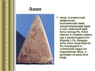 Апоп Апоп, в египетской мифологии исполинский змей, олицетворяющий мрак и зло
