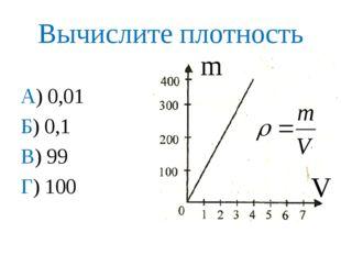 Вычислите плотность А) 0,01 Б) 0,1 В) 99 Г) 100 m V