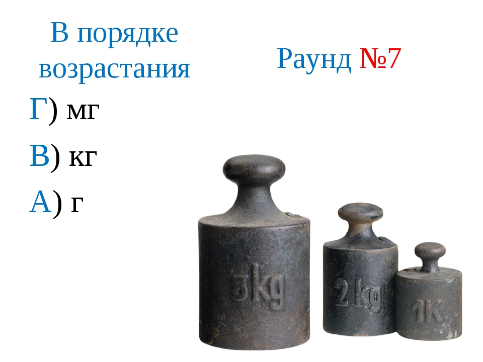 В порядке возрастания Г) мг В) кг А) г Г, А, В, Раунд №7