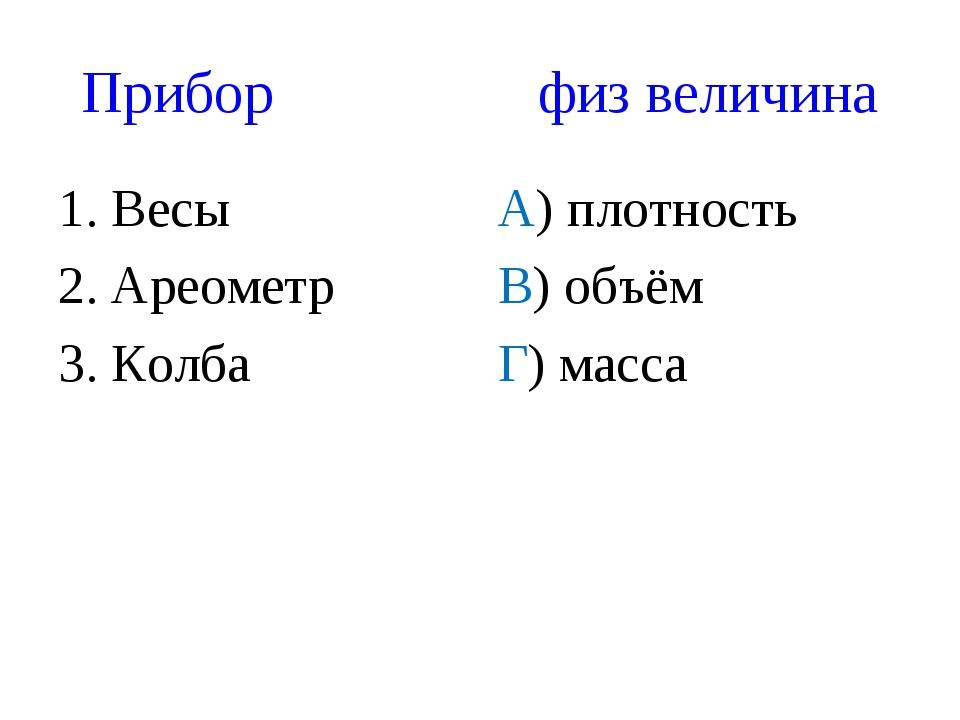 Прибор физ величина 1. Весы 2. Ареометр 3. Колба А) плотность В) объём Г) мас...