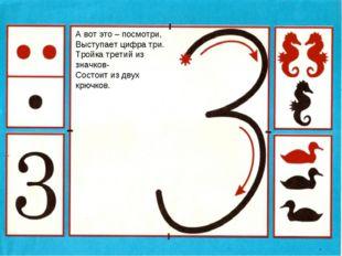 А вот это – посмотри, Выступает цифра три. Тройка третий из значков- Состоит