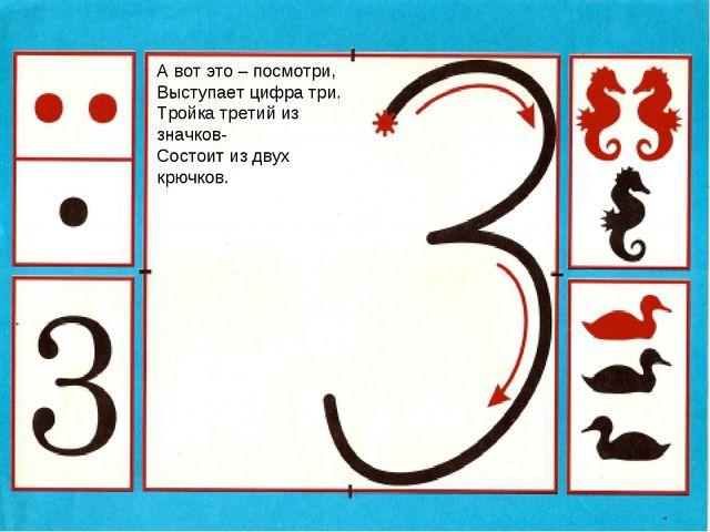 А вот это – посмотри, Выступает цифра три. Тройка третий из значков- Состоит...