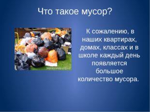 Что такое мусор? К сожалению, в наших квартирах, домах, классах и в школе каж
