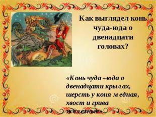 Как выглядел конь чуда-юда о двенадцати головах? «Конь чуда –юда о двенадцати