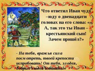 Что ответил Иван чуду –юду о двенадцати головах на его слова: «- А, так это т