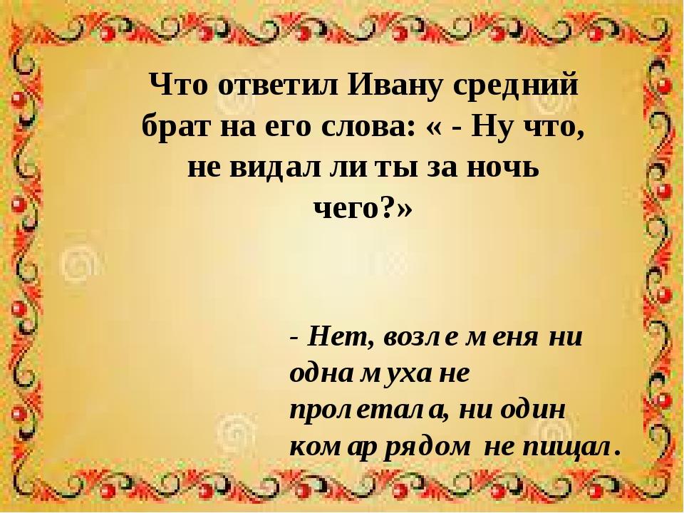 Что ответил Ивану средний брат на его слова: « - Ну что, не видал ли ты за но...
