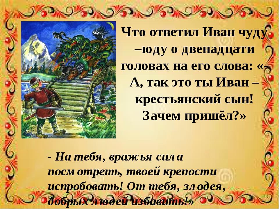 Что ответил Иван чуду –юду о двенадцати головах на его слова: «- А, так это т...
