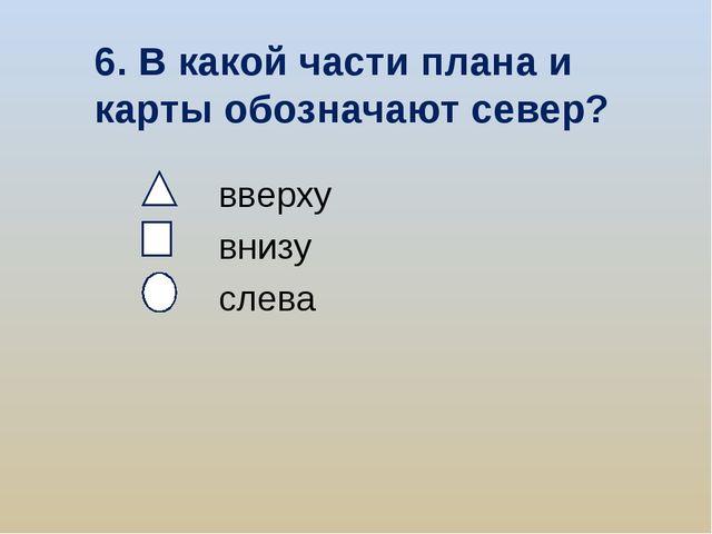 6. В какой части плана и карты обозначают север? вверху внизу слева