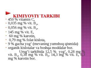 450 % vitamin C, 0,035 mg % vit. B1, 0,056 mg % vit. B2, 145 mg % vit. Е, 60