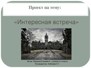 Проект на тему: «Интересная встреча» Автор: Жданова Елизавета , ученица 6 е к