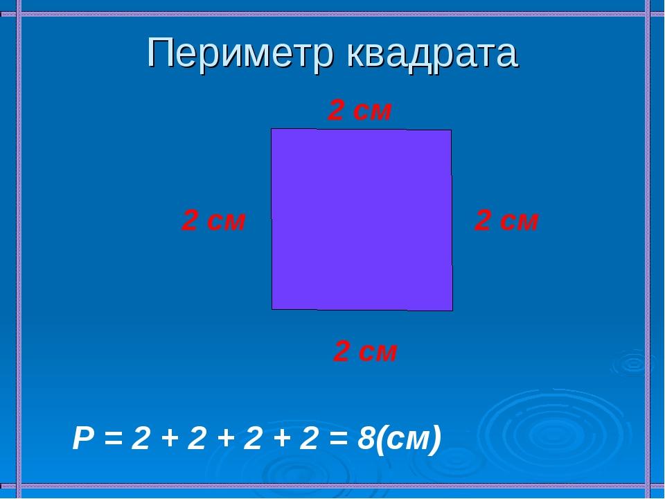 Периметр квадрата 2 см 2 см 2 см 2 см Р = 2 + 2 + 2 + 2 = 8(см)