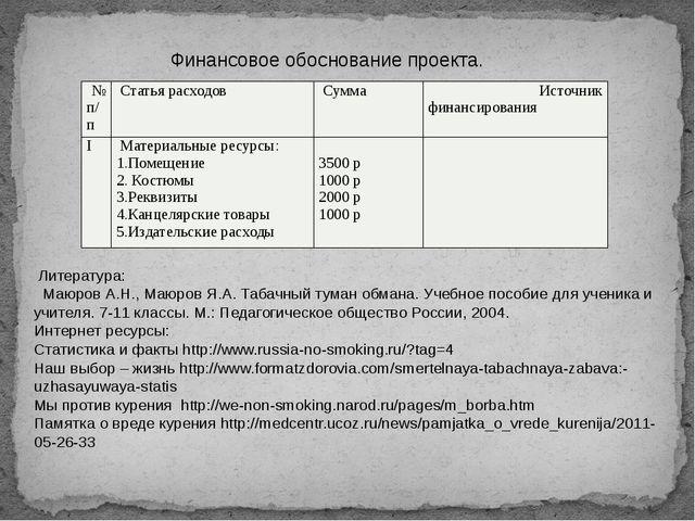 Финансовое обоснование проекта. Литература: Маюров А.Н., Маюров Я.А. Табачный...