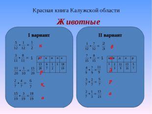 Красная книга Калужской области Животные I вариант II вариант 1 н р о а к в 1