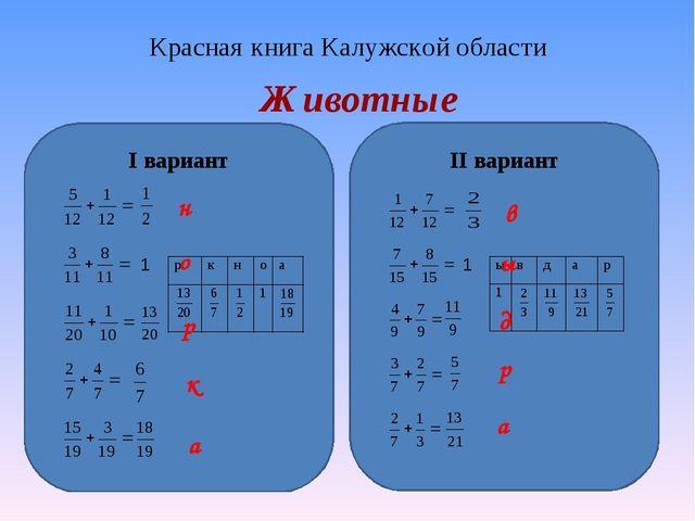 Красная книга Калужской области Животные I вариант II вариант 1 н р о а к в 1...