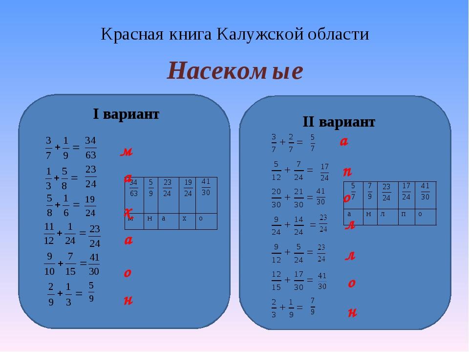 Красная книга Калужской области Насекомые I вариант II вариант м а х а о н а...