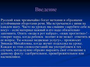 Введение Русский язык чрезвычайно богат меткими и образными устойчивыми оборо