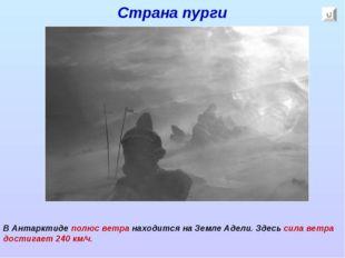 Страна пурги В Антарктиде полюс ветра находится на Земле Адели. Здесь сила ве