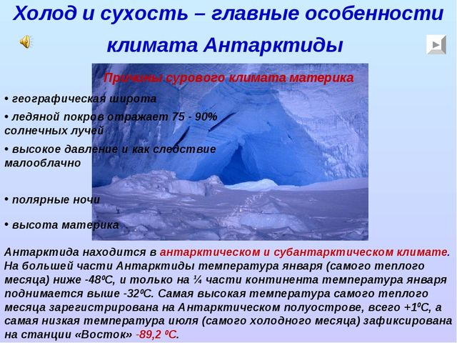 Холод и сухость – главные особенности климата Антарктиды Антарктида находится...