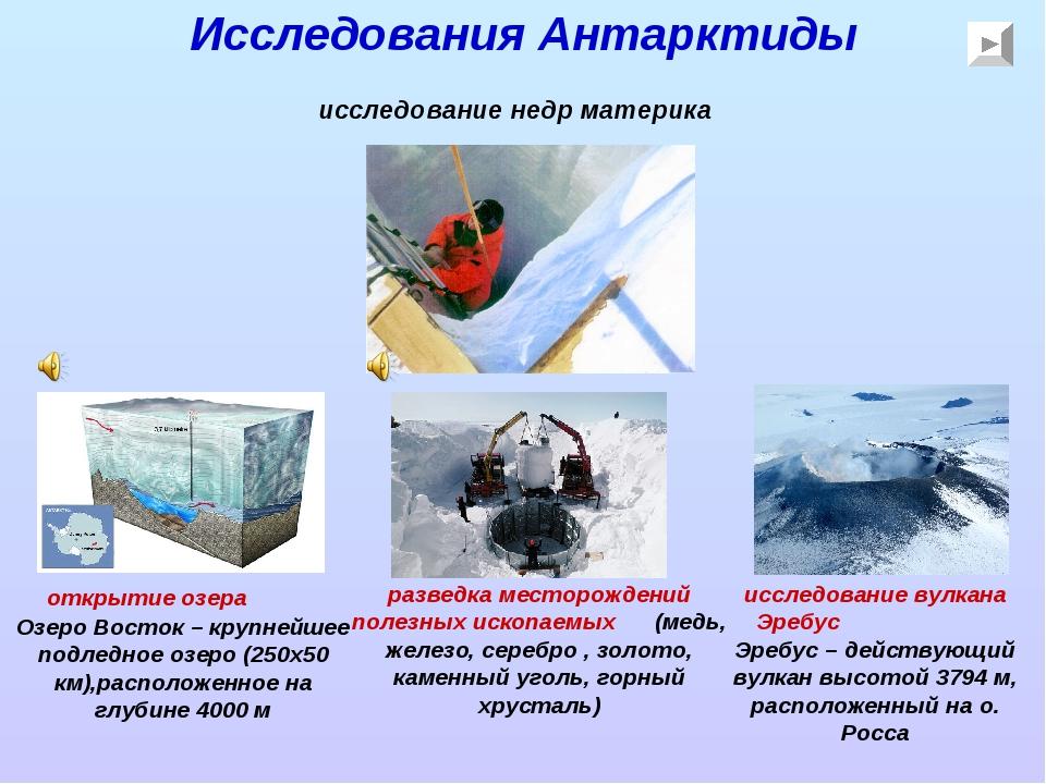 Исследования Антарктиды исследование недр материка открытие озера Озеро Восто...