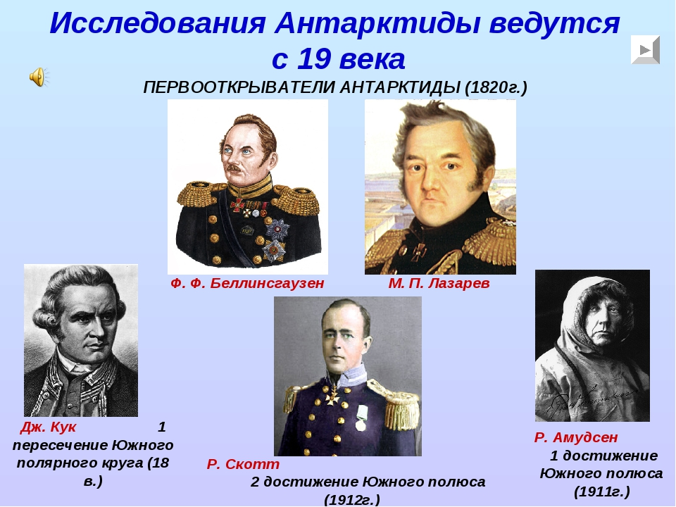 Исследования Антарктиды ведутся с 19 века Ф. Ф. Беллинсгаузен М. П. Лазарев Д...