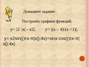 Домашнее задание. Построить графики функций: у= |2· |х| - х2|, у= |(х – 4):(х