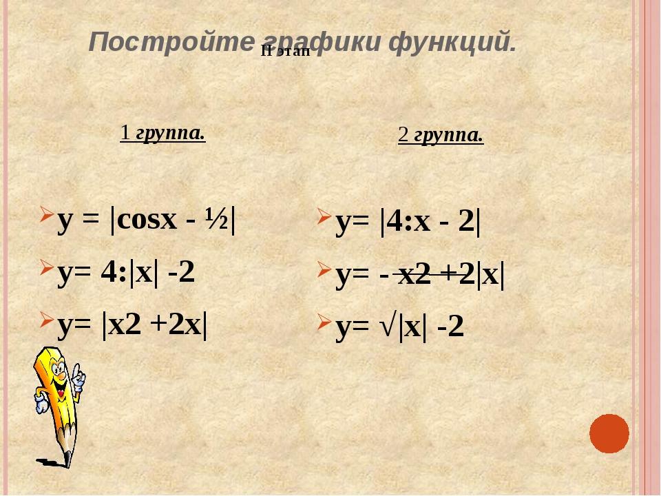 Постройте графики функций. 1 группа. у = |cosx - ½| y= 4:|x| -2 y= |x2 +2x| 2...