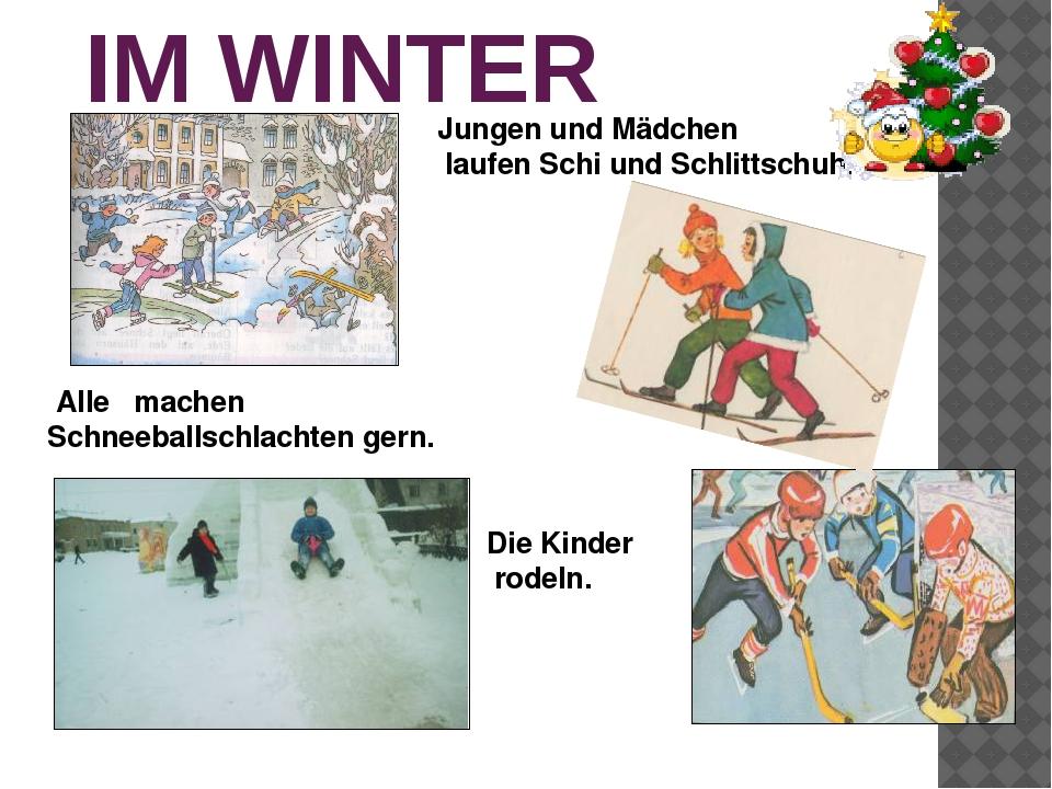IM WINTER Die Kinder rodeln. Jungen und Mädchen laufen Schi und Schlittschuh....