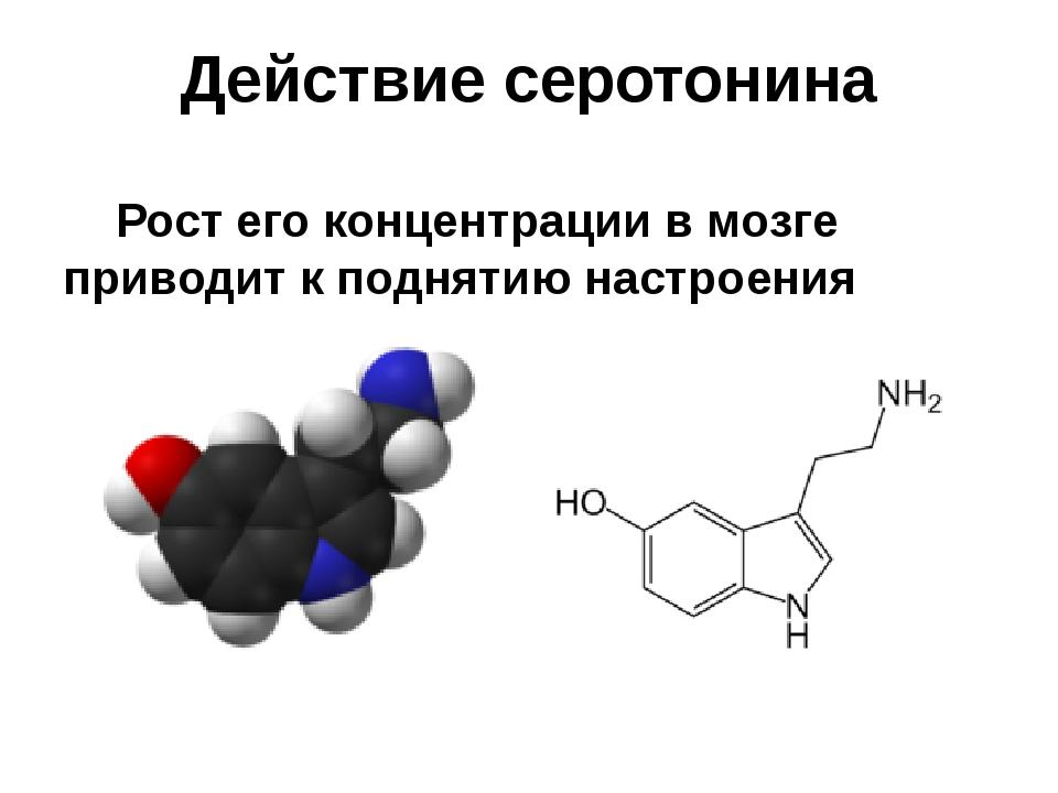 Действие серотонина Рост его концентрации в мозге приводит к поднятию настро...
