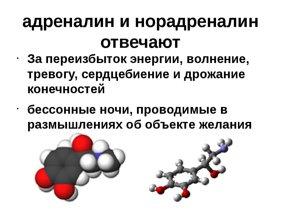 адреналин и норадреналин отвечают За переизбыток энергии, волнение, тревогу,...