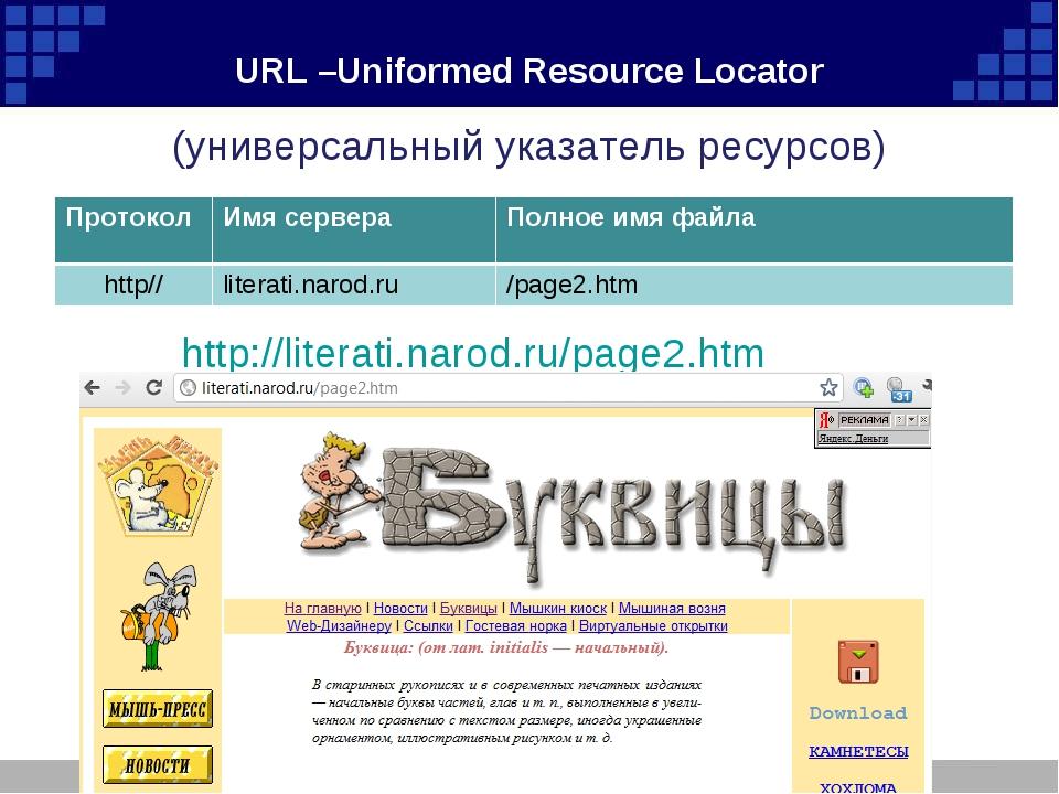 URL –Uniformed Resource Locator (универсальный указатель ресурсов) http://lit...