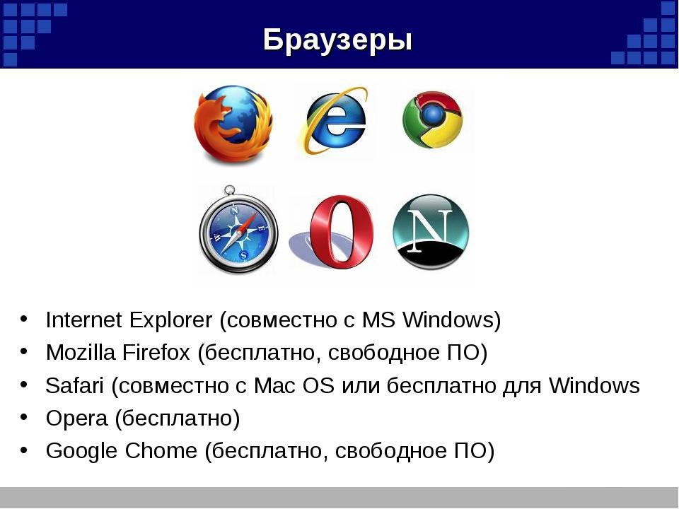 Браузеры Internet Explorer (совместно с MS Windows) Mozilla Firefox (бесплатн...