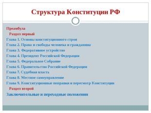 Структура Конституции РФ Преамбула Раздел первый Глава 1. Основы конституцион