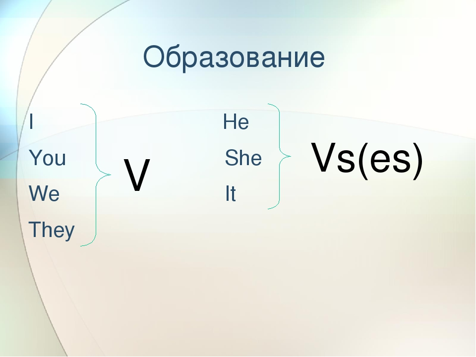 Образование I He You She We It They V Vs(es)