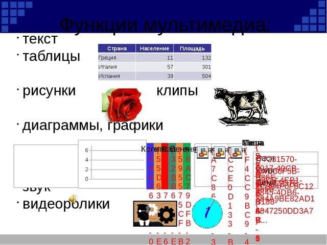 Функции мультимедиа: текст таблицы рисунки клипы диаграммы, графики звук виде...