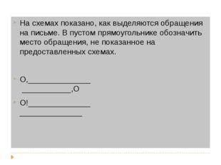 На схемах показано, как выделяются обращения на письме. В пустом прямоугольн