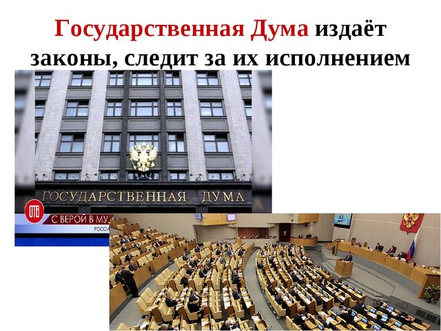 Государственная Дума издаёт законы, следит за их исполнением