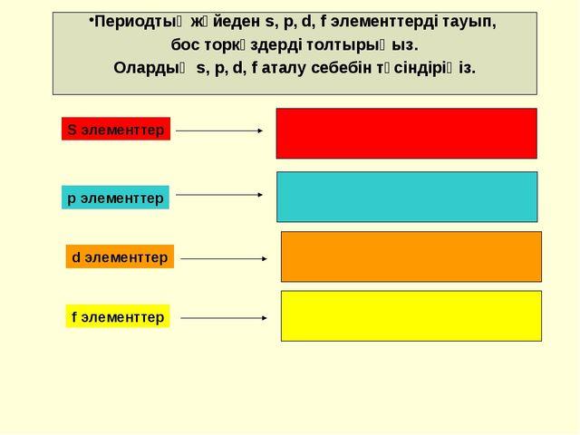 Периодтық жүйеден s, p, d, f элементтерді тауып, бос торкөздерді толтырыңыз....