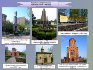 Памятники о трагических событиях июня 1995 года Памятник авиаторам, погибшим