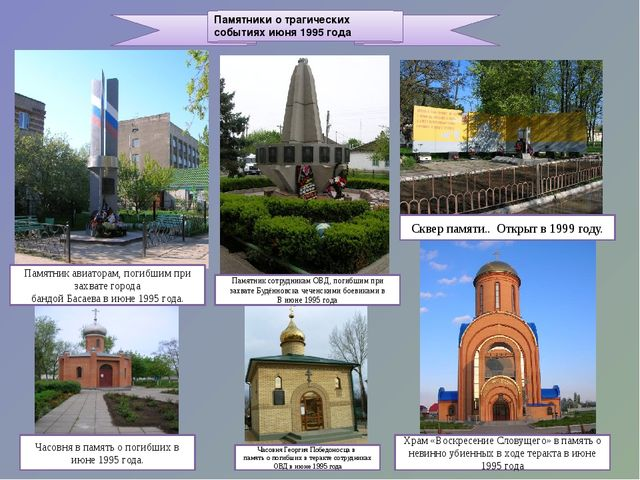 Памятники о трагических событиях июня 1995 года Памятник авиаторам, погибшим...