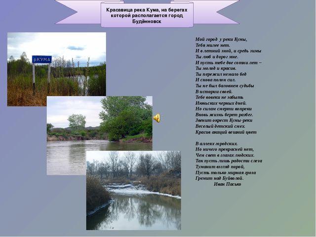 Красавица река Кума, на берегах которой располагается город Будённовск Мой го...