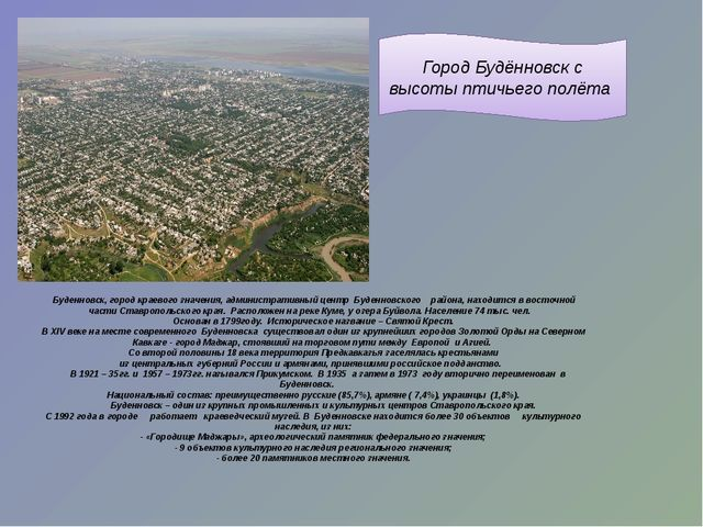 Город Будённовск с высоты птичьего полёта Буденновск, город краевого значения...