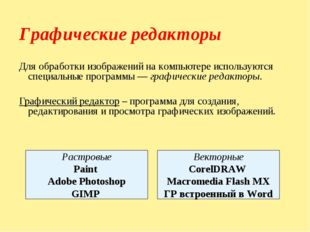 Графические редакторы Для обработки изображений на компьютере используются сп